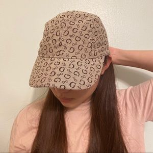 Guess Monogram Faux Leather Strap Brown Hat/ Cap